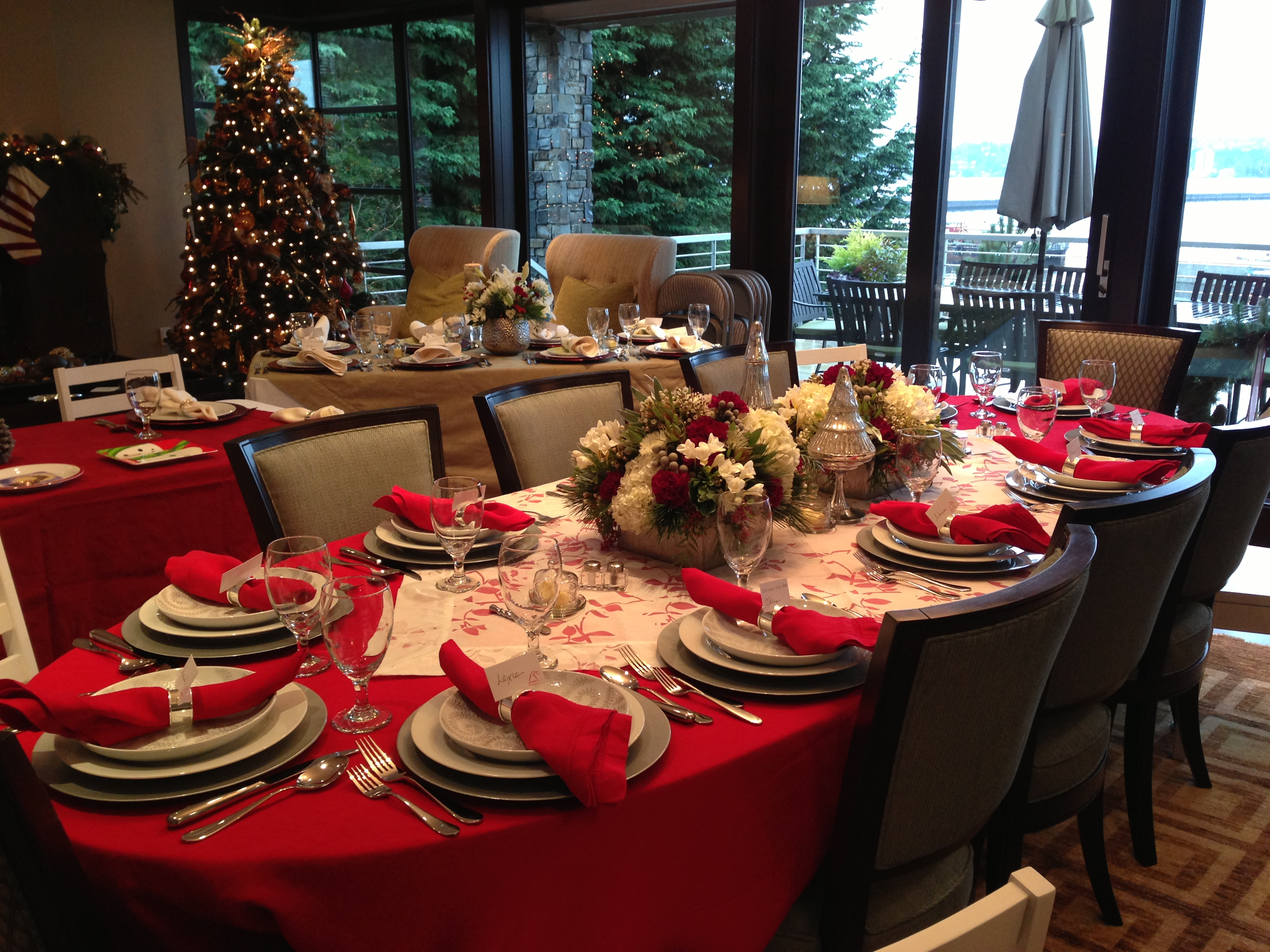 image of table set for christmas in red and silver theme