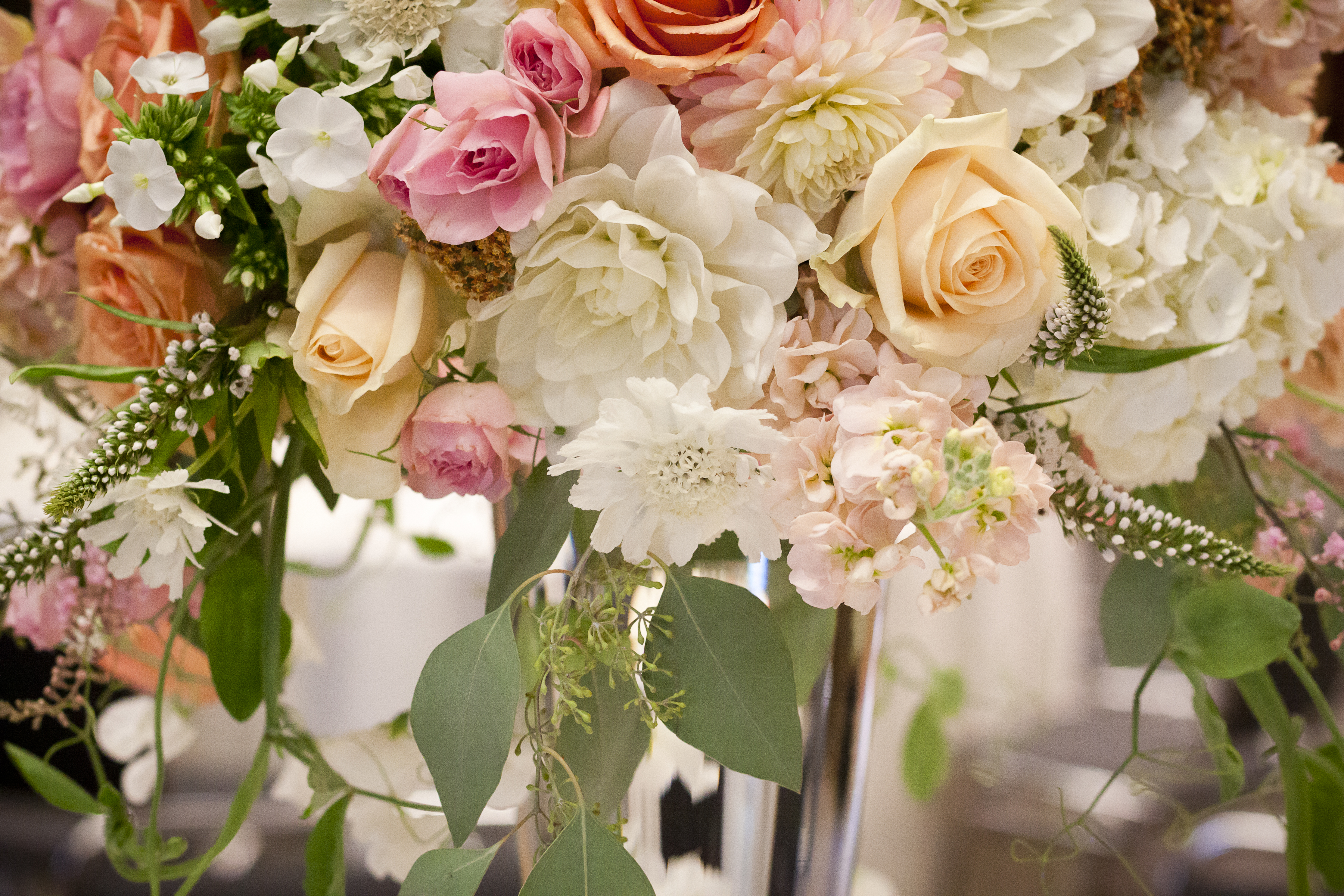 Romantic style wedding in peach pearl and blush tobey nelson white hydrangea and sweet peas image of wedding centerpiece with dahlia rose sweet pea and scabiosa mightylinksfo