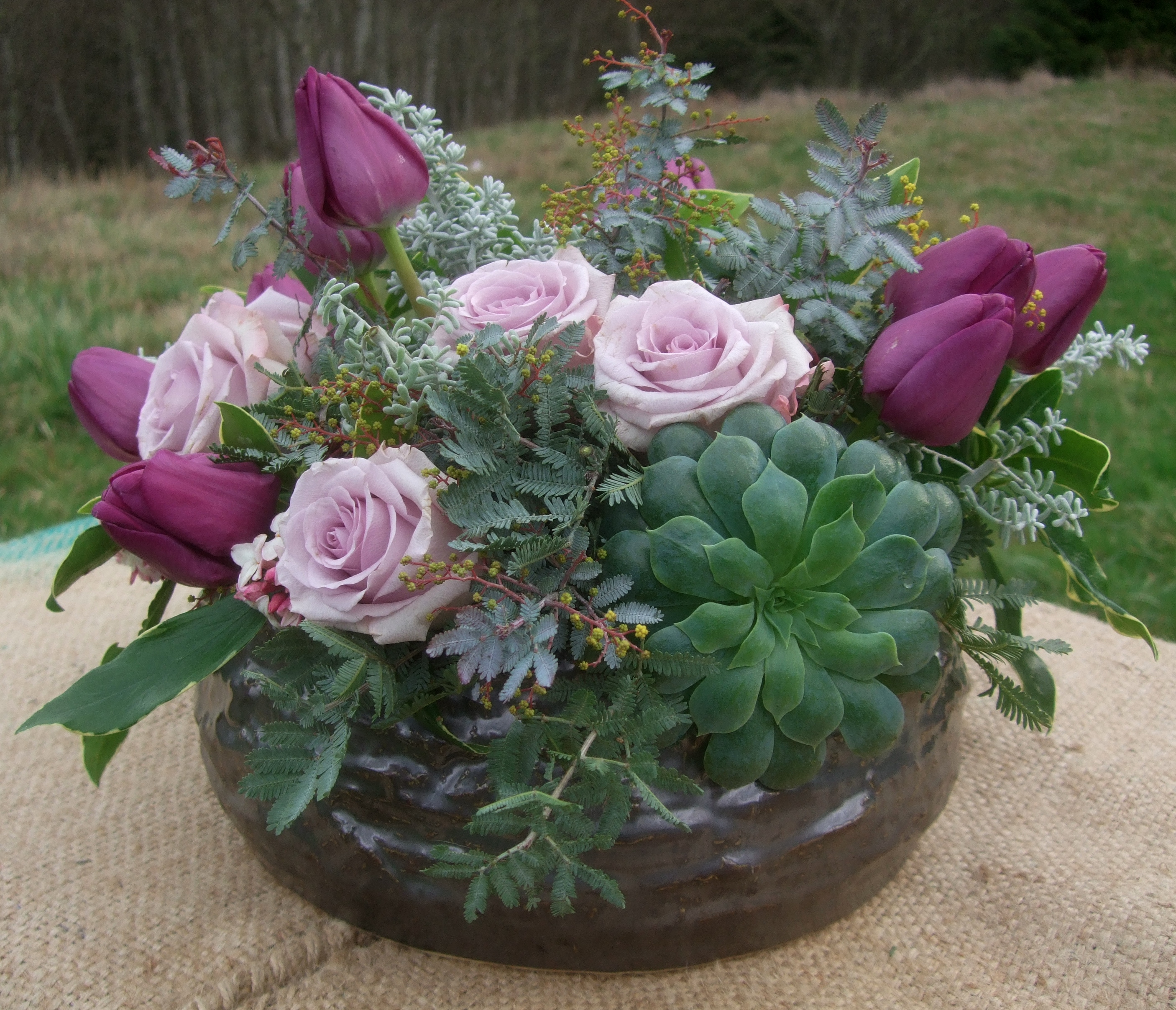 image of silver and lavender centerpiece