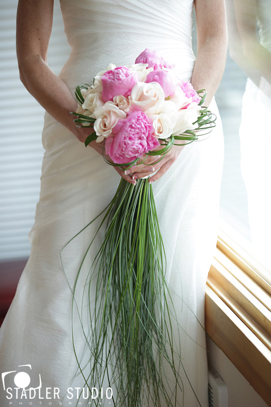 Whidbey Island Bride with Peony and Rose flower bouquet by Vases Wild image by Stadler Studio