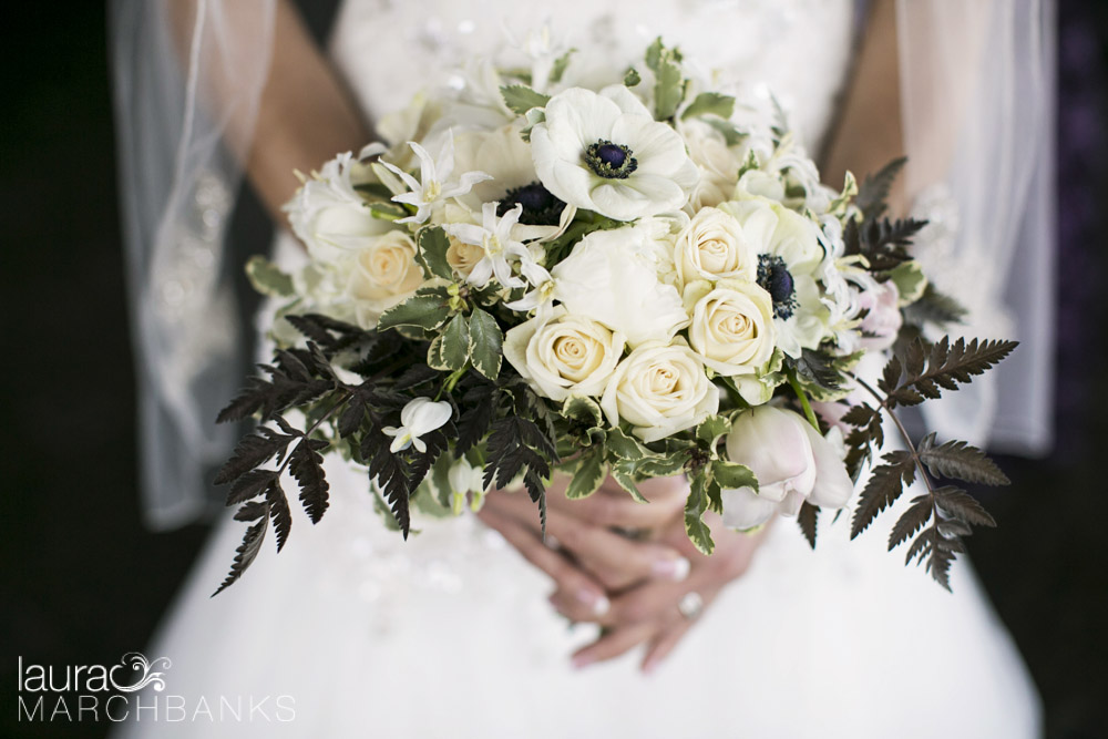 black and cream spring wedding flower bridal bouquet for seattle wedding by whidbey island florist Vases Wild