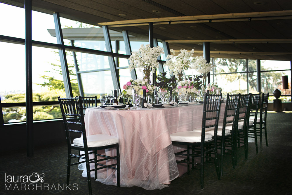 French theme wedding table at Canlis Restaurant flowers by Whidbey Island florist Vases Wild event design by Perfect Harmony Events
