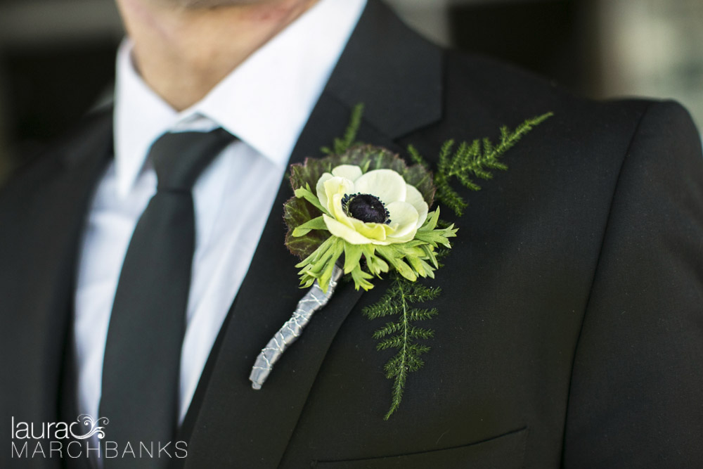image of boutonniere with white and black anenome by whidbey island florist Vases Wild