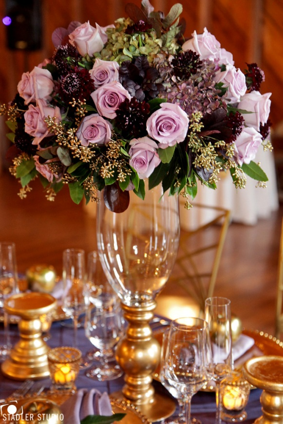 Elegant Gold And Purple Wedding Table Decor Takes Barn Weddings