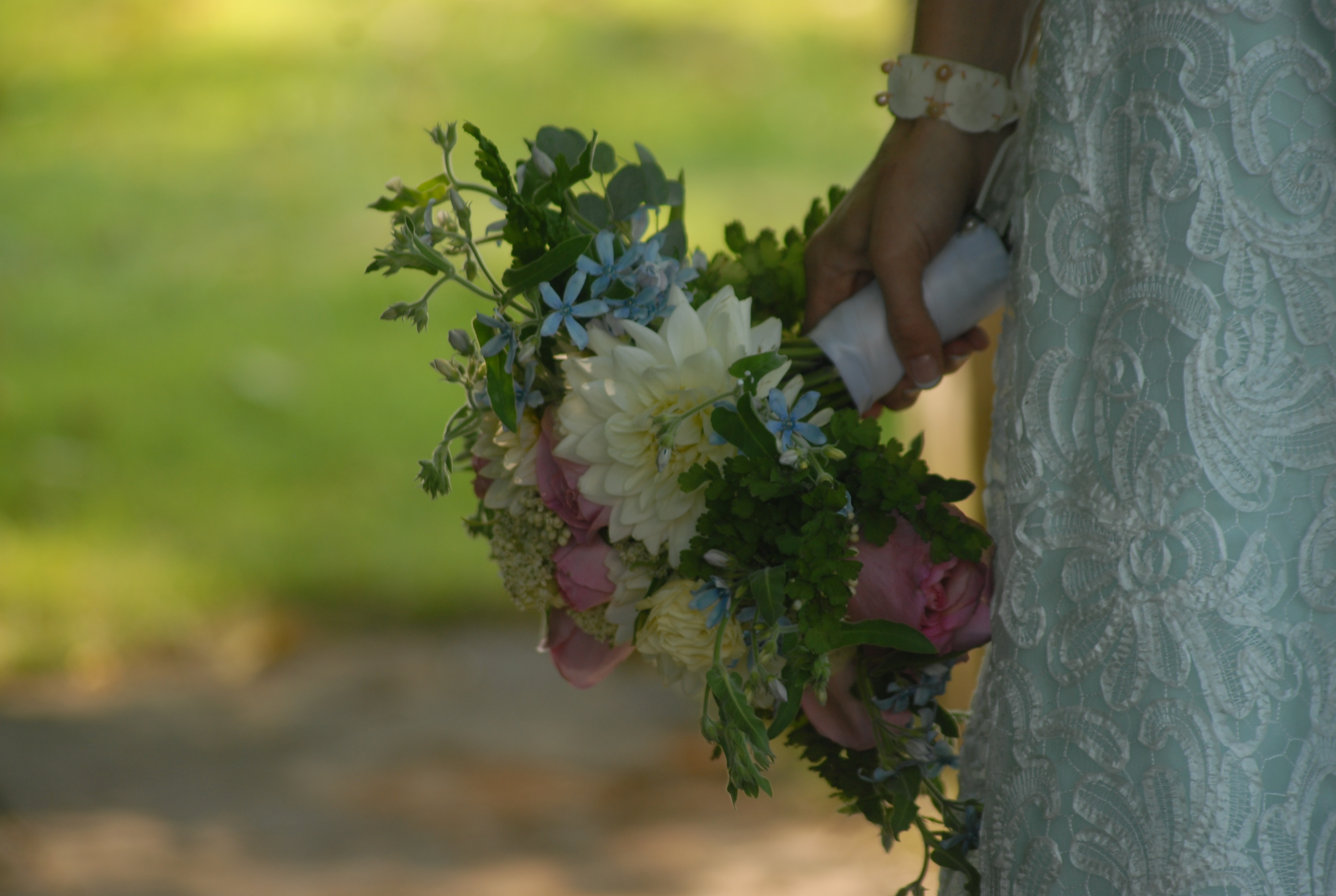 whidbey island wedding at Jenne farm bridal bouquet with dahlia, rose, fern image by Tonic Studio