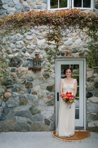 whidbey island bride with bouquet