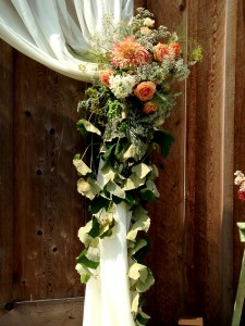 floral drape tieback with peach roses and dahlia