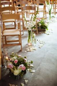 dancing fish vineyard wedding flowers ceremony aisle