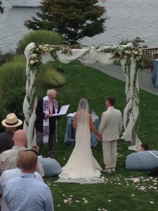 Whidbey Island backyard wedding arbor