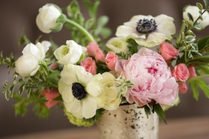 Peonies and Anemone in a flower arrangement