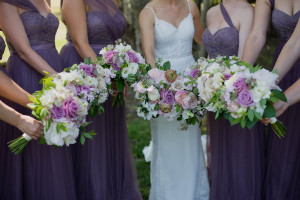 Blush and lavender wedding with spring flowers