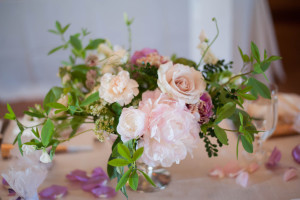 Blush and Lavender wedding centerpiece with Peony, Rose, Ranunculus