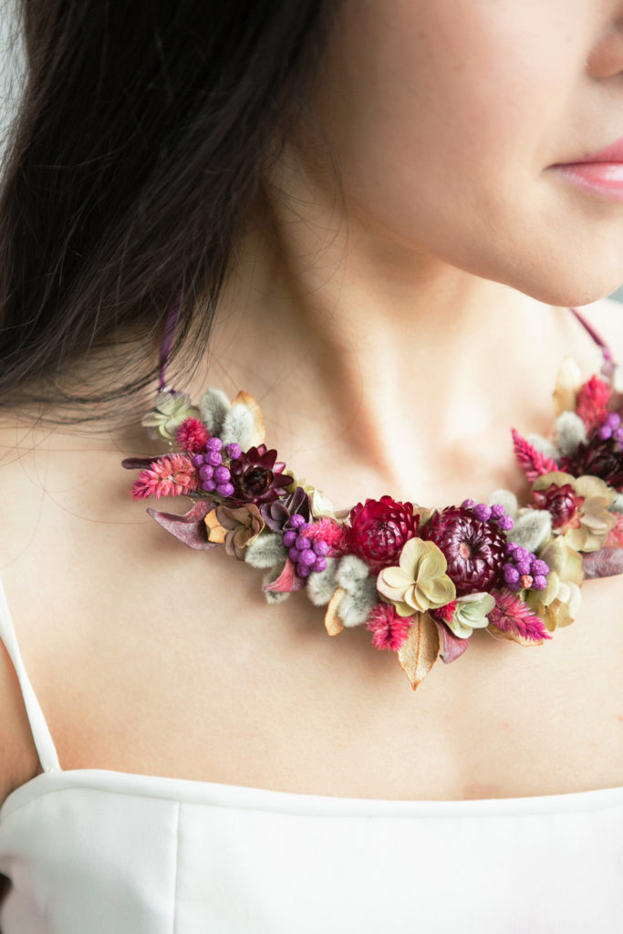 botanical necklace made from dried flowers for flower jewelry class