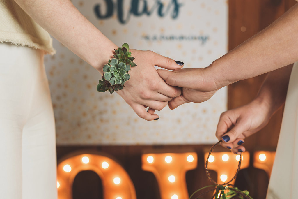 Sedum wrist corsage by Whidbey Island florist