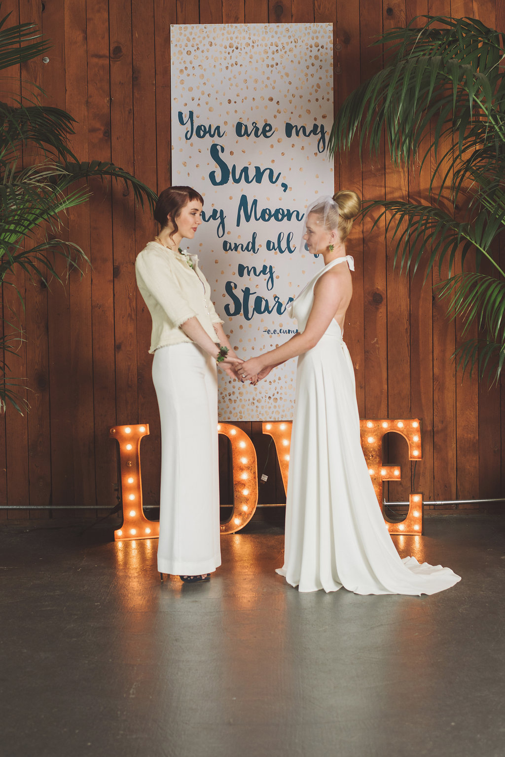 Lesbian wedding ceremony design by Vases Wild