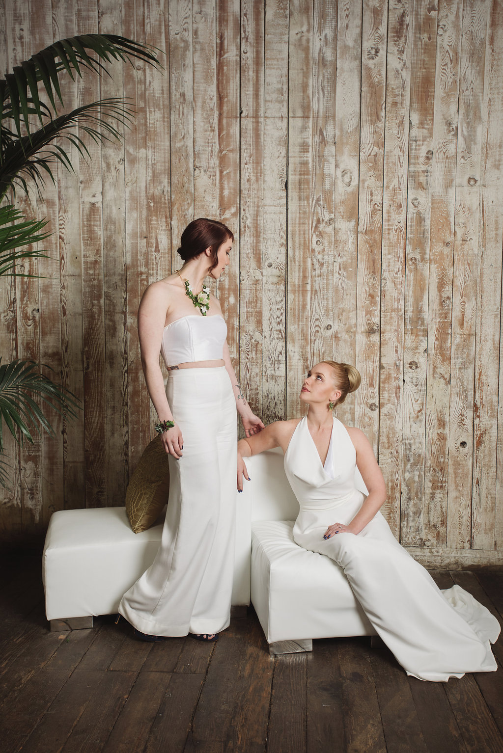 Bridal pantsuit for gay wedding by French Knot Couture