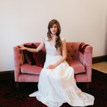 whidbey island flower workshop will have models wearing gowns by Frankie & Maude