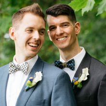 seattle same sex wedding grooms with boutonnieres