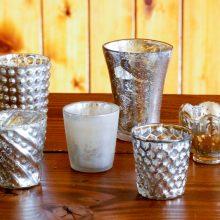 Whidbey Island wedding rentals Mercury glass votive holders