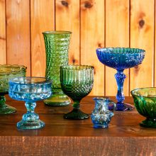 Whidbey Island wedding rentals Green and blue glass vases