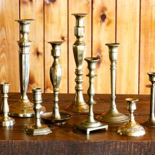 Whidbey Island wedding rentals Brass candlestick collection