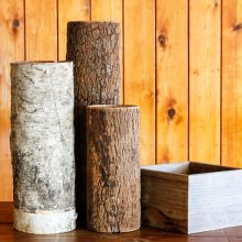 Whidbey Island wedding rentals Wood and bark containers