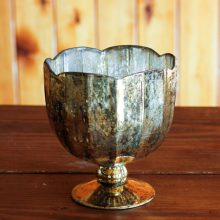 Whidbey Island wedding and event rentals | gold mercury glass compote vase