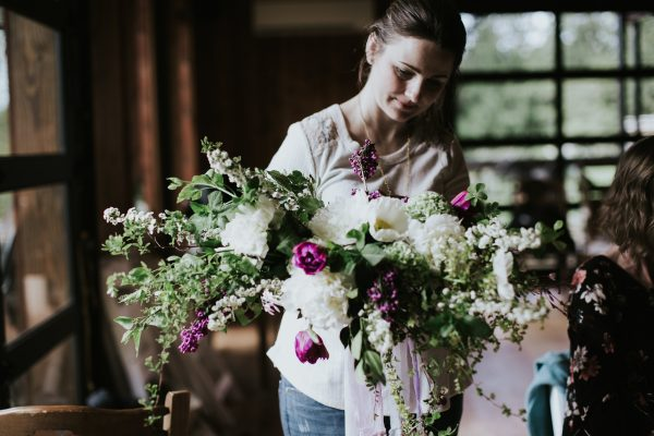 stunning bridal bouquet by Student Unique & Chic at Whidbey Flower Workshop