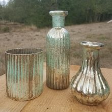 Verdigris bud vases for rent from Tobey Nelson Events
