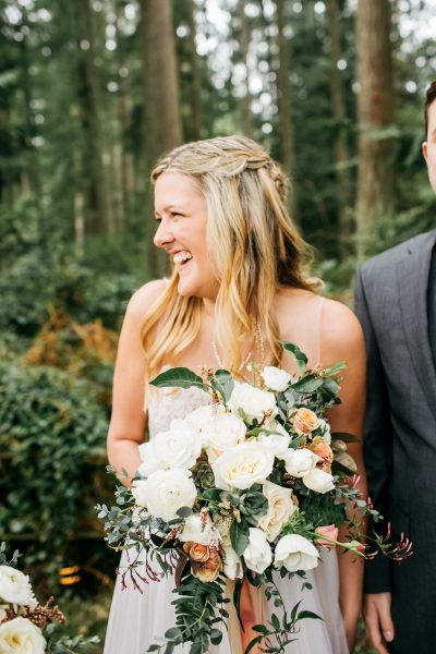 Whidbey Island bride with white, blush & neutral tone bouquet