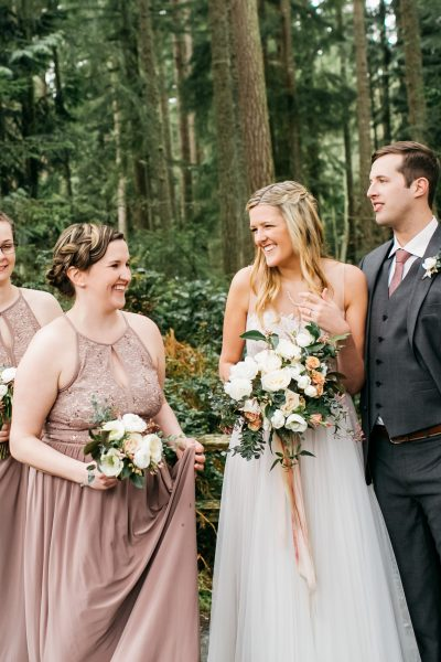 Happy bridal party at Whidbey Island spring wedding